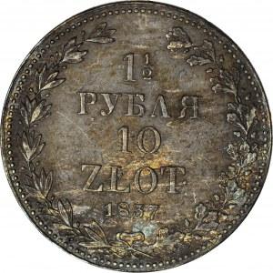 Zabór Rosyjski, 10 złotych = 1 1/2 rubla 1837, MW, Warszawa, piękne