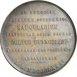 R-, Medal 1881, 100-lecie budowy kościoła ewangelicko-augsburskiego w Warszawie