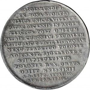 Medal Suity Królewskiej autorstwa J.J. Reichela, Zygmunt August, odlew w żeliwie z huty Białogon