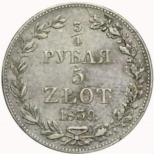 Zabór Rosyjski, 5 złotych = 3/4 rubla 1839, Warszawa