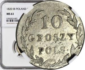 R-, Królestwo Polskie, 10 groszy 1820 I.B., b. rzadki, Berezowski 10 zł