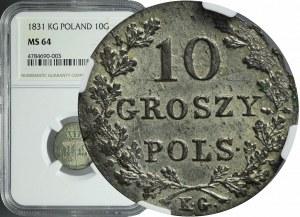 R-, Powstanie Listopadowe, 10 groszy 1831, łapy orła proste, piękne,