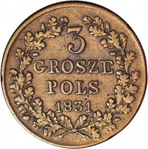 RRR-, Powstanie Listopadowe, 3 grosze 1831 bez kropki po POLS, b. rzadkie