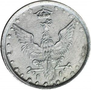 RR-, Królestwo Polskie, 10 fenigów 1917 FF, DESTRUKT - DOUBLE DIE awersu