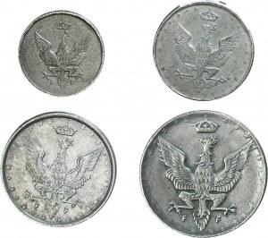 Królestwo Polskie, zestaw 1 fenig 1918, 5 fenigów 1918, 10 fenigów 1917, 20 fenigów 1917