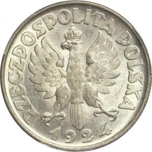 2 złote 1924, Żniwiarka, odwrotka (Filadelfia), mennicza