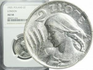 2 złote 1925, Żniwiarka, kropka po dacie (Londyn), bardzo ładne