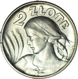 2 złote 1925, Żniwiarka, kropka po dacie (Londyn), mennicze