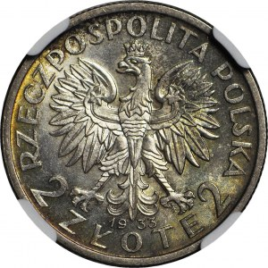 2 złote 1933, Głowa, gabinetowa
