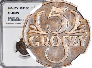 5 groszy 1934, piękne, NAJRZADSZE, kolor BN