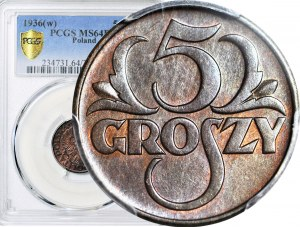 5 groszy 1936, kolor BN, mennicze