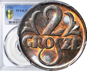 2 grosze 1935, mennicze, kolor BN
