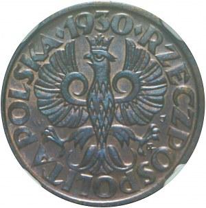 1 grosz 1930, menniczy, kolor BN