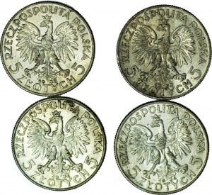 Zestaw 4 szt. 5 złotych 1933 i 1934, Głowa, piękne