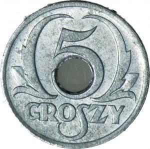 5 groszy 1939, Okupacja, mennicze, jasny odcień
