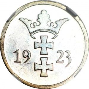 R-, WMG, 2 fenigi 1923, STEMPEL LUSTRZANY, kolor BN