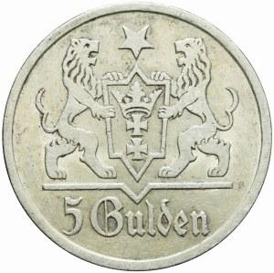 R-, Wolne Miasto Gdańsk, 5 guldenów 1927, Kościół Mariacki