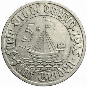 Wolne Miasto Gdańsk, 5 guldenów 1935, Koga