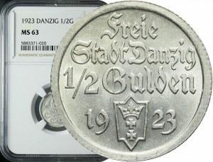 Wolne Miasto Gdańsk, 1/2 guldena 1923, piękne