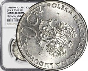 R-, 50 złotych 1983 Sobieski, SKRĘTKA 120 stopni, rzadki