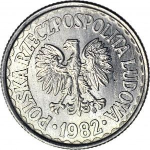 RR-, Rzeczypospolita Solidarna, 1 zł 1982 (double die), SOLIDARNOŚĆ WALCZĄCA