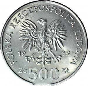 R-, 500 zł 1989, DESTRUKT, błąd wykrawania krążka, mennicze