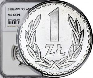 R-, 1 złoty 1982, szeroka data, PROOFLIKE