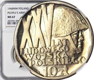 10 złotych 1968, XXV LAT LWP, mennicze, lekka skrętka