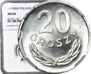 20 groszy 1979, rewers świeży stempel