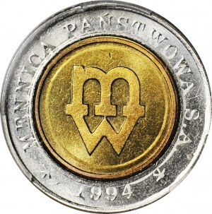5 złotych 1994, Warszawa, PRÓBA TŁOCZENIA, mennicze