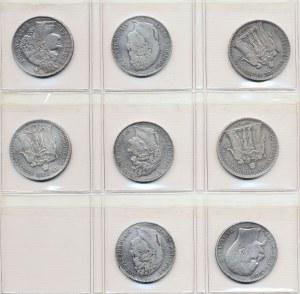 Francja, 5 franków - 8 szt.