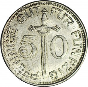 Niemcy, 50 fenigów 1917 Solingen, DESTRUKT - podwójne bicie