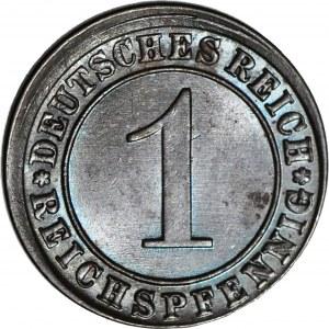 R-, Niemcy, 1 fenig 1933 A, DESTRUKT - niecentryczne bicie