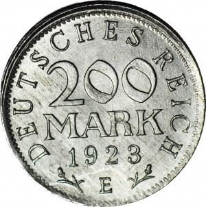 R-, Niemcy, 200 marek 1923 E, DESTRUKT - niecentryczne bicie