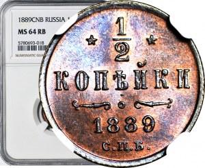 Rosja, Aleksander III, 1/2 kopiejki 1889 СПБ, Petersburg