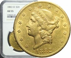 R-, Stany Zjednoczone Ameryki (USA), 20 dolarów 1882 CC, Carson City, bardzo ładne