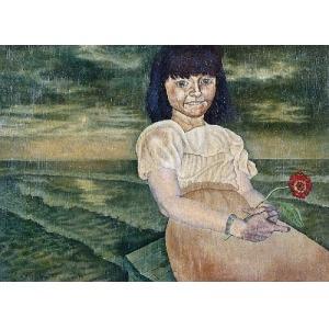 Karol WIECZOREK (ur. 1949), Dziewczynka z czerwonym kwiatem, 1976