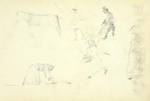 Włodzimierz Tetmajer (1861 - 1923), Szkice konia, kobiety pracującej w polu, kobiet i mężczyzny w kapeluszu, ok. 1900