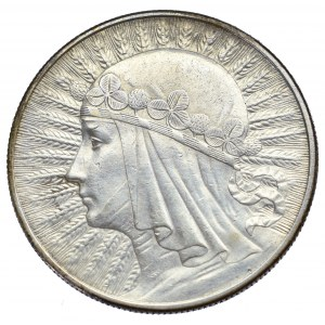 II Rzeczpospolita, 10 złotych 1932 BZM Głowa kobiety