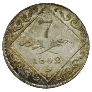 Austria, Franz II, 7 kreuzer 1802 - overstriked on 12 kreuzer