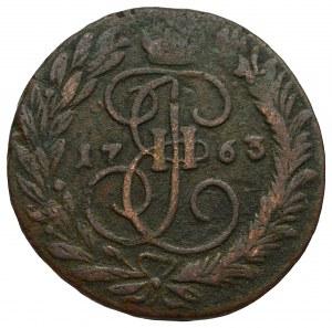 Rosja, Katarzyna II, 2 kopiejki 1763 - przebitka na 4 kopiejkach