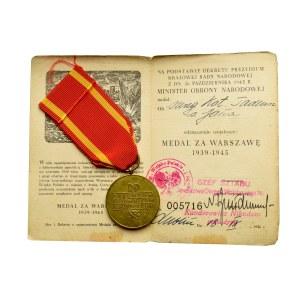 PRL, Medal Za Warszawę z legitymacją