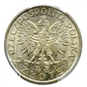 II Rzeczpospolita, 2 złote 1932 Głowa kobiety - PCGS MS62