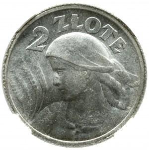 II Rzeczpospolita, 2 złote 1924 (róg i pochodnia) Kobieta i kłosy - NGC MS61