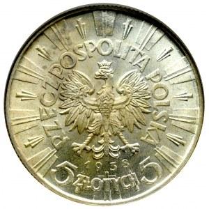 II Rzeczpospolita, 5 złotych 1938 Piłsudski - NGC MS64