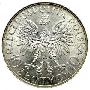 II Republic of Poland, 10 zlotych 1932, Women's Head, London- NGC MS62