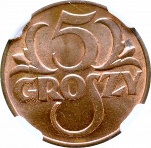 II Rzeczpospolita, 5 groszy 1938 - NGC MS64 RB