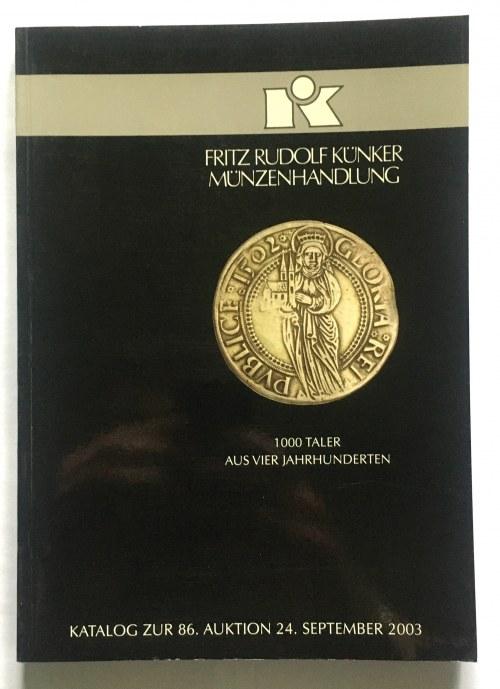 Katalog aukcyjny, Künker 86/2003 r - ciekawe i b.rzadkie, monety polskie i polsko-saskie