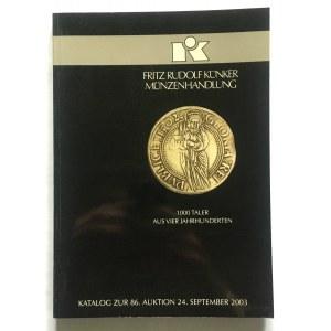 Katalog aukcyjny, Künker 86/2003 r - bardzo rzadkie i ciekawe, monety polskie i polsko-saskie