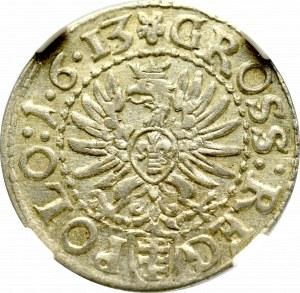 Zygmunt III Waza, Grosz 1613, Kraków - 1•6•13 - NGC AU58